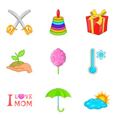 Adolescent icons set cartoon style vector