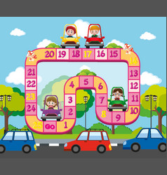boardgame template with kids on the road vector image