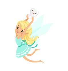 cute cartoon blonde tooth fairy girl flying and vector image
