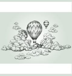 hot air balloon drawing vector image vector image