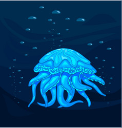 medusa blue jellyfish in the deep stock vector image vector image