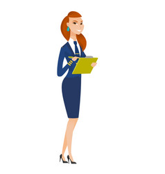 stewardess holding clipboard with documents vector image