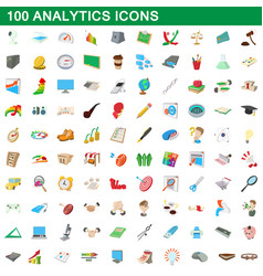 100 analytics icons set cartoon style vector image