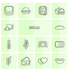 14 bread icons vector image