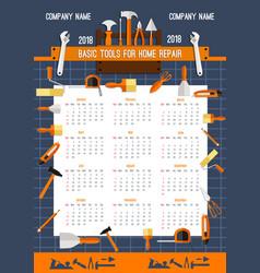 2018 calendar template of work tools vector image