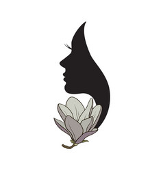 beautiful female profile with magnolia flower vector image