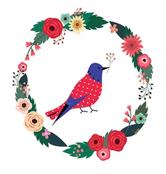 Beautiful floral wreath and blue bird vector
