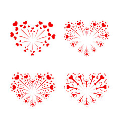 Beautiful heart-fireworks set red romantic salute vector