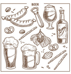 Beer of high quality and tasty snacks sketches set vector
