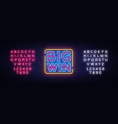 big win neon sign big win design template vector image
