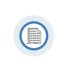 Binary code coding data document line icon vector