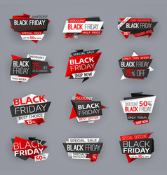 black friday sale banners tags shop offer deals vector image