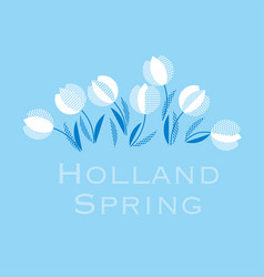 blue holland style tulip flower pattern modern vector image