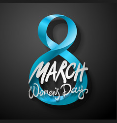 blue march 8 greeting card international womans vector image vector image