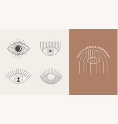 bohemian linear logos icons and symbols sun vector image