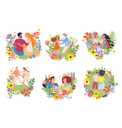 Boy girl on flowered frame on gently hug sit vector