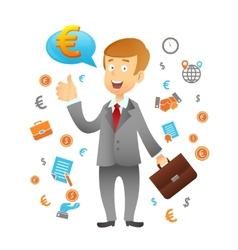 Businessman And Business Icons vector