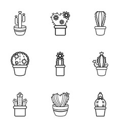 Cactus in a pot icons set outline style vector