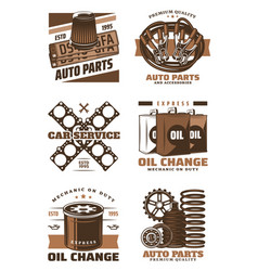 car service retro icon with vintage auto parts vector image