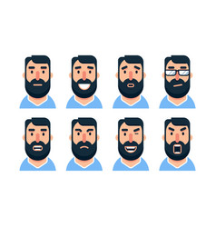 cartoon bearded man character with various facial vector image