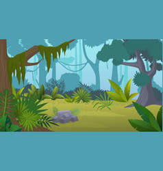 cartoon empty tropical rainforest jungle vector image