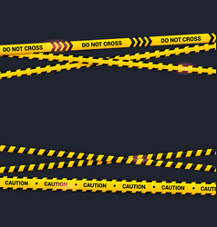 Caution tape on black background do not cross vector