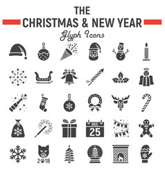 christmas glyph icon set new year signs vector image