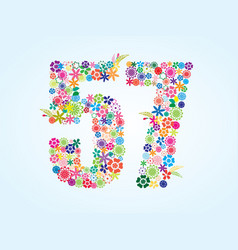 Colorful floral 57 number design isolated on vector