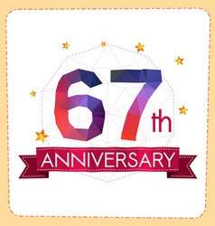 Colorful polygonal anniversary logo 2 067 vector