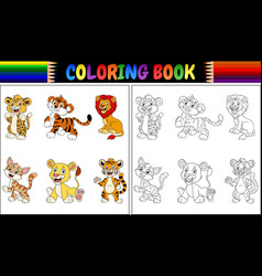 coloring book with wild cats collection vector image