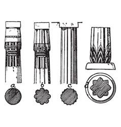 Column proto-doric vintage engraving vector