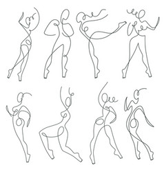 Continuous line drawing female silhouettes vector