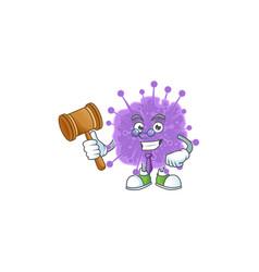 Coronavirus influenza wise judge with cute glasses vector