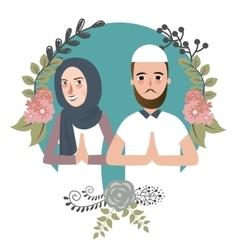 Couple muslem islam greetings ramadhan ied vector