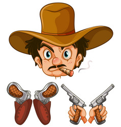 cowboy head and two pairs of guns vector image