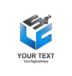 Cube pixel letter slc initial alphabet logo vector