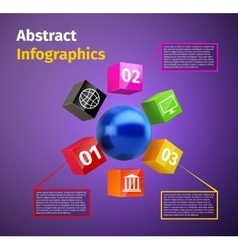 Cubes and 3d sphere infographic vector image