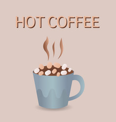 cup of coffee with marshmallows vector image