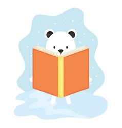 cute polar bear reading book character vector image