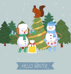 cute snowman and winter forest vector image