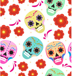 day of the dead holiday in mexico seamless pattern vector image
