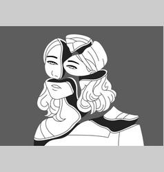 Depressed young woman broken into pieces concept vector