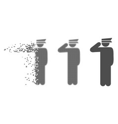 Disappearing pixel halftone police officer icon vector