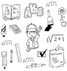 Doodle of school student and tools vector