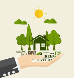 ECO FRIENDLY Ecology concept with hand and tree vector