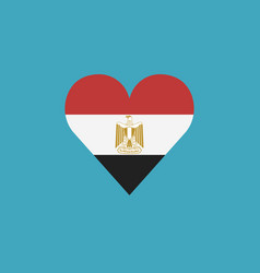 egypt flag icon in a heart shape in flat design vector image