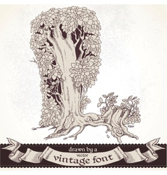 Fable forest hand drawn by a vintage font - L vector image