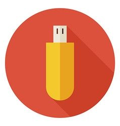 Flat Computer Technology USB Circle Icon with Long vector