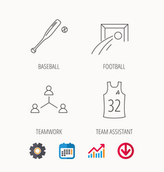 football team assistant and baseball icons vector image
