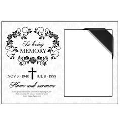 Funeral card vintage condolence frame vector